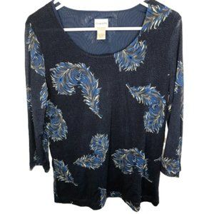 Chico's Knit Sheer Mesh Lined Pullover Top Blouse